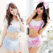 Buy Women's Robe set Gown sets nightdress Sexy Lingerie set bathrobe pajamas female Sexy Cosplay peignoir miniskirts Maid Uniform