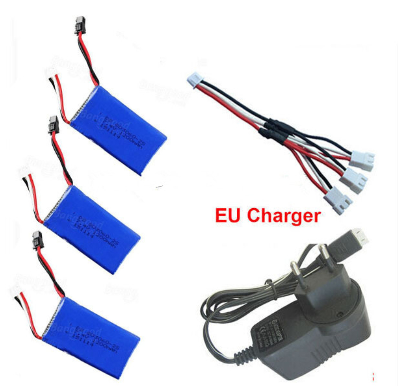 Free shipping H26D H26W battery RC Quadcopter Spare Parts 7.4V 1200mAh Battery with 3 in 1 Cable &amp; EU Charger<br>