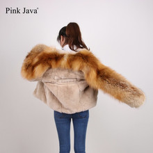 Pink Java QC8093 FREE SHIPPING 2017 new fashion fur jackets real rex rabbit fur jacket real red fox fur coat women outfit