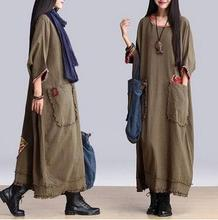 Best Selling Autumn winter national ethnic cotton Linen dress fashion female clothing wholesale