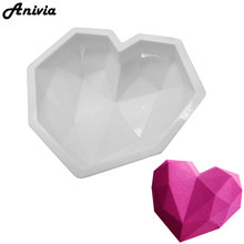Anivia Baking Non-stick Dessert Silicone Mould Diamond Love Heart Shape Mousse Cake Mold Chocolate Jelly