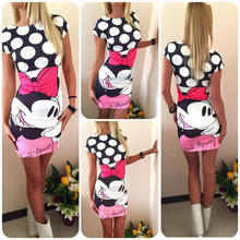Fashion Mickey and Minnie Cartoon Print Womens Ladies Summer Short Sleeve Holiday Bodycon Pencil Mini Dress Long Tops
