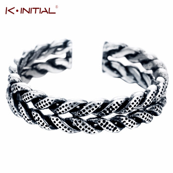 Kinitial 1Pcs 925 Silver Twisted Rope Boho Above the Knuckle Ring Band Midi Finger Ring Wedding Jewelry Adjustabel Size Bijoux