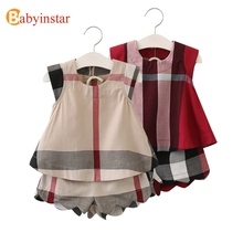 Babyinstar Casual Plaid Children's Sets Summer t-shirt + Shorts 2pcs Kids Suits Outerwear 2017 New Fashion Girl Clothing Sets