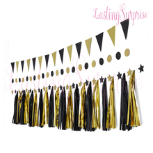 Set Of Black Gold Paper Tassel Star Garland Circle Valentines Day Glitter Hanging Banner Home Decoration Party Photo Porps