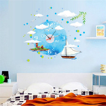 2017 new creative DIY wall clock Landscape murals sailing bells Home decoration wall stickers electronic watch