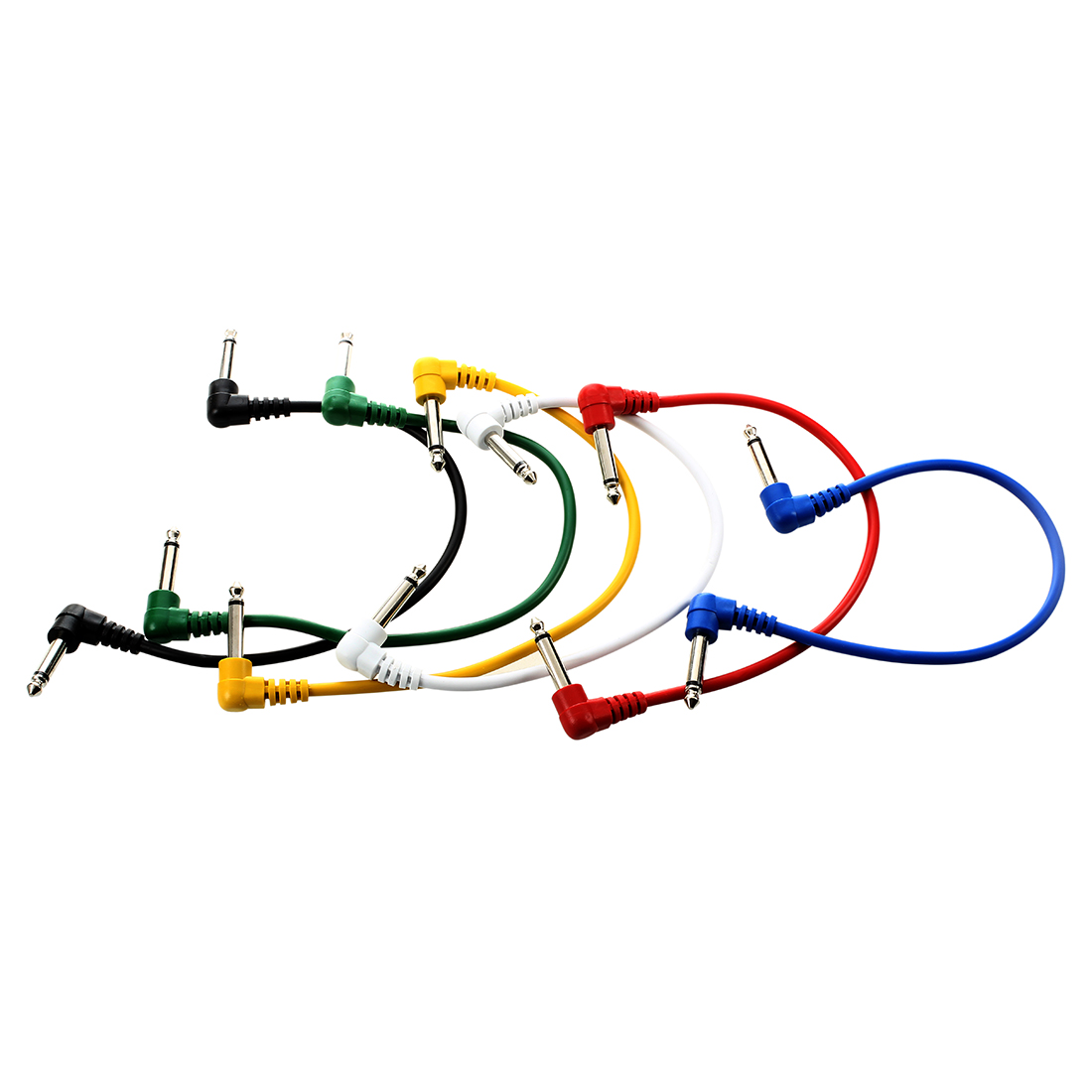 5X Set of 6pcs Colorful Guitar Patch Cables Angled for Guitar Effect Pedals<br>