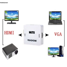 Kebidumei HDMI 1080P Adapter Connector For Projector PC Laptop with HDMI2VGA Converter Mini VGA to HDMI Converter With Audio VGA(China)