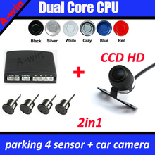 Dual Core CPU Direction Indicator BiBi Sound Parking Sensor Connect to DVD Player Monitor + car parking rear view camera CCD HD(China)