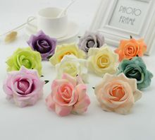 1pcs Silk plastic Roses Artificial Flowers For home Wedding Decoration DIY Wreath vases for Decorative Gift Craft Bride Bouquet(China)