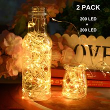 Solar Powered Copper Wire LED String Lights 200 LED Starry Rope Lights Home Party Christmas Indoor Outdoor Lighting Decoration(China)