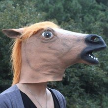 Hot selling Creepy Horse Mask Head Halloween / Christmas Costume Theater Prop Novelty Latex Rubber   Free Shipping
