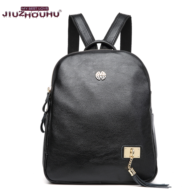 New geniune leather backpack black women leather backpack designer luxury backpack girl travel bag womens schoolbag bookbag<br>