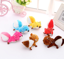 Super Cute 6Colored-  12CM Squirrel Plush , Keychain Stuffed TOY DOLL , Wedding Gift Toy , Bouquet Decor DOLL Pendant TOY