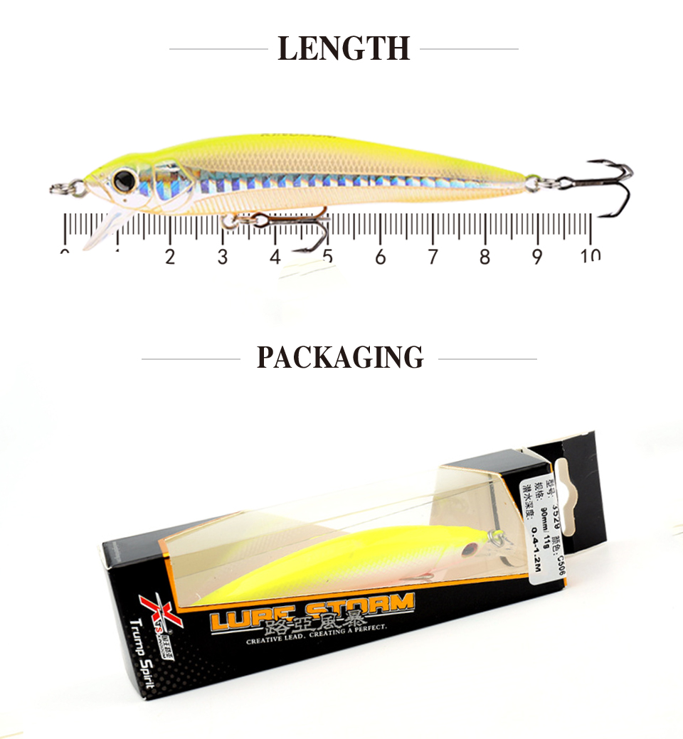 Kingdom Good Fishing Lure Floating Minnow Quality Professional 9cm 9g swim bait equipped 3x stong angle treble hooks model 5339 (3)