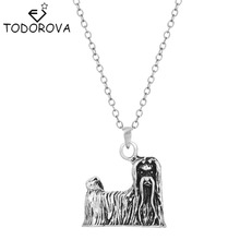 Todorova 3D Realistic Maltese Animal Dog Breed Charm Pendant Necklace Men Vintage Jewelry Womens Clothing Accessories Discount