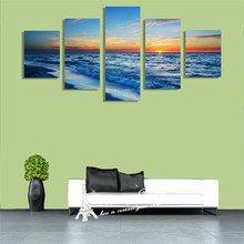 Modern Art Picture Canvas Painting Wall Pictures Christmas Decoration Canvas Prints Endless Surface Of The Sea Sunset Here(China)