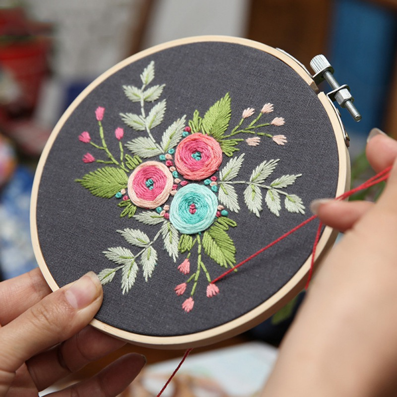 2Pcs Floral Hand Embroidery Kit Modern Cross Stitch DIY Needlework For Kids