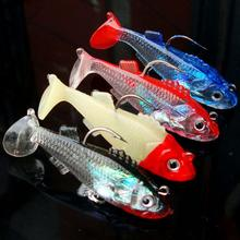 New Arrive 5.5cm 8g Soft Bait Lead Head Sea Fish Lures Fishing Tackle Sharp Treble Hook T Tail(China)