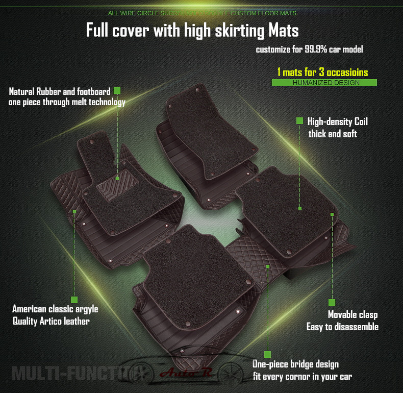 double layer coil leather car floor mats 2