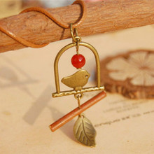 Flyleaf Handmade retro bronze birds natural twigs long pendant necklace 2015 colar Vintage fine jewelry accessories(China)