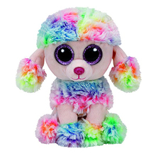 "Ty Beanie Boos 6"" 15cm Rainbow the Poodle Dog Plush Stuffed Animal Collectible Soft Big Eyes Doll Toy"