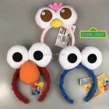 Free Shipping EMS 100/Lot 3 Styles Sesame Street Elmo Headbands cartoon face Funny plush Doll hair hoop Cookie Monster headband