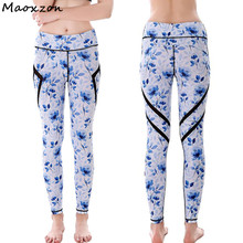 Buy Maoxzon Women's Digital Print Mesh Sexy Fitness Skinny Pants Woman Patchwork Hollow Active Workout Elastic Slim Leggings for $15.48 in AliExpress store