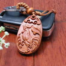 1 pc Fashion llaveros animal cock Carved Wooden KeyRing Chicken Key Chain car small Pendant Keychain woodwork porte clef(China)