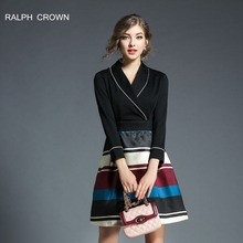 RALPH CROWN 2018 summer bodycon stripe dress Women long sleeve Hit color dress Elegant party short dress vestidos de fiesta(China)
