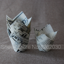 White Newspaper muffin cupcake paper liner For Tulip Standard Cupcake Liners Wrappers 100Pcs /pack