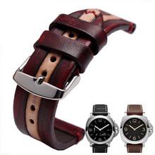 Cool Men Custom Leather Watch Strap 100% Handmade Retro Carving Cowhide Watchband And Retor Clasp / Buckle(China)