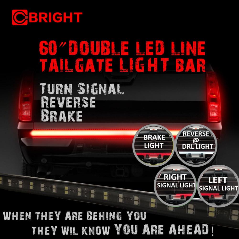60 Running/Brake/Reverse/Signal LED TAILGATE TAIL LIGHT BAR STRIP PICK-UP TRUCK<br>