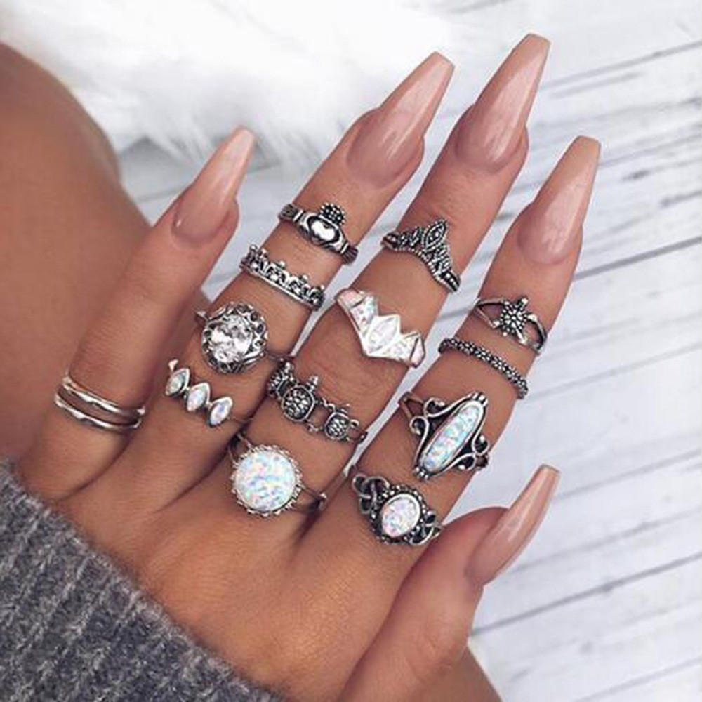 Bague Femme Vintage Rings for Women Boho Geometric Flower Crystal Knuckle Ring Set Bohemian Midi Finger Jewelry Silver Color 65