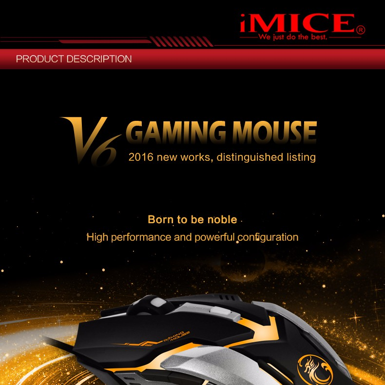 V6 New Arrival 5000 DPI 6 Button LED Optical USB Wired Gaming Mouse Mice computer mouse For Pro Gamer wholesale