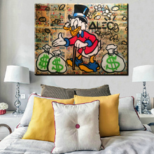 Alec xh366 Monopoly Money Donald Duck Lienzo Pintura Cartel de la Pared Pictures For Living Room Decoración Del Hogar Artes Impresión En Lienzo