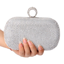 Fashion Finger Ring Diamonds Women Evening Bags Female Rhinestones Lady's Handbags Chain Shoulder Purse/Evening Bag(China)