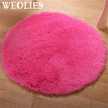 Colorful Round Anti-Skid Fluffy Floor Mats Carpet 40cm Shaggy Area Rug Door Floor Blanket Home Dining Room Bedroom Decoration(China)