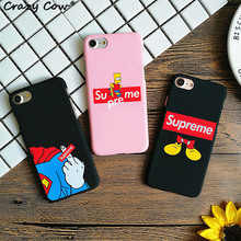 Crazy Cow Supreme Simpson Mickey Mouse Superman Finger Phone Case For iPhone 5 5s Se 6 6s Plus 7 7Plus Hard PC Coque Funda Cover