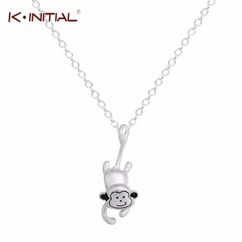 1Pcs 925 Sterling Cilver Cute Animal Monkey Necklaces & Pendants For Women 3D Stereoscopic Collares Necklace Jewelry Collier