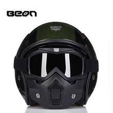 2017 Fashion BEON retro Harley design motorcycle helmet half face Military helmets for locomotive Composite four seasons of FRP