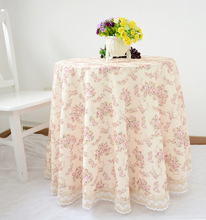 European-style garden flower water soluble lace table cloths, linen round tablecloths, high-quality and elegant home decor