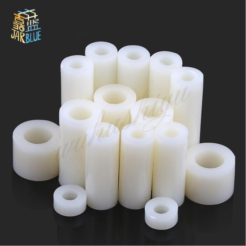 50Pcs Nylon Spacer Standoff Non-Threaded Washer Round Column Plastic 3mm x 8mm