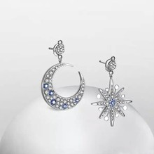 SALE 925 silver Europe Star Moon Crystal from Swarovski new fashion creative cz Earrings classic retro micro set hot jewelry(China)