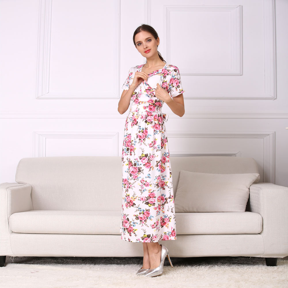 46e5b1e7ee55 Emotion Moms New Fashion Floral Maternity Clothes for Pregnancy  Breastfeeding Dresses for Pregnant Women Maternity Nursing Dress