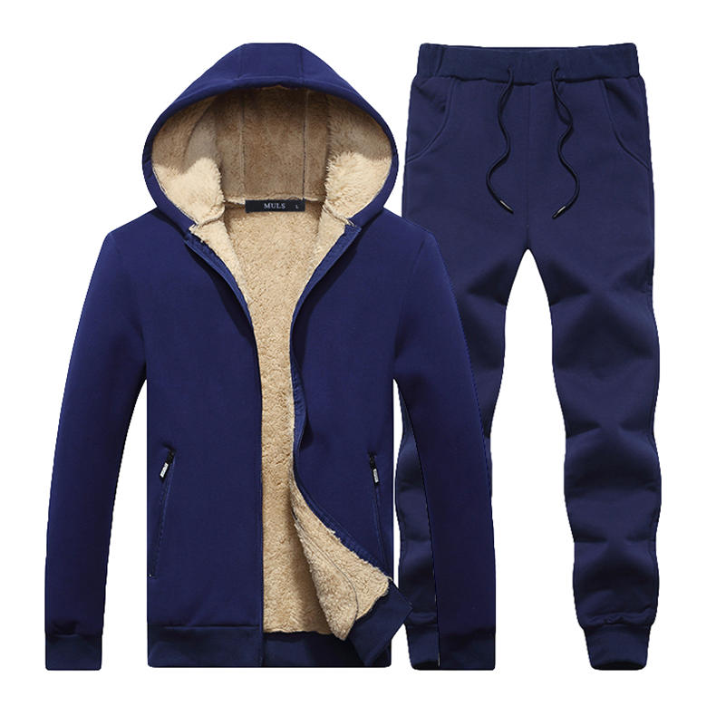 Couple Tracksuit Men Casual Cotton Knitted Hooded Warm Sweatshirt Male Winter Thick Lamb Cashmere Fleece Women Jacket+Pant 2PC 14