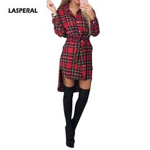 Buy LASPERAL Plaid Women Shirt Dress Vintage Button Bandage Dress Irregular Turn Collar Long Sleeve Mini Dress Women Clothing for $9.59 in AliExpress store