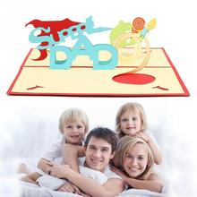 Hot sales 3D Pop Up DIY Greeting Cards Super Dad Happy Fathers Day Postcard Love Thanksgiving Gift Craft Desk Table Decor