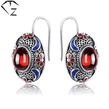 GZ 925 Sterling Silver Brincos Garnet Red Stone Earring Natural Lapis Lazuli S925 Silver Earrings Women Jewelry LE05(China)