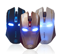 2.4GHz Wireless optical iron men mouse Cordless Scroll Computer PC Mice with USB Dongle various color gaming mice 10m rang